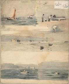 Attributed to Édouard Manet,  French, 1832-1883,   Sketches of Marine Scenes, n.d.   Watercolor and graphite on off-white wove paper.
