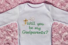 Will You Be My Godparents   LongSleeved Newborn by savaragifts, $16.00