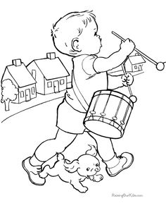 GIF boy drummer and puppy dog, coloring Kid page to print and color