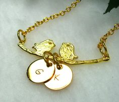 Personalized Gold Love Birds on a Branch Charm by CharmAccents, $20.00