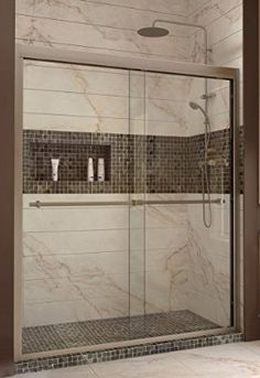 DreamLine Duet 56 To Frameless Bypass Sliding Shower Door, Clear Glass Door,  Brushed Nickel Finish,