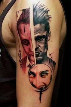 """Fight Club"" tattoos are the most brutally compelling insignias imaginable. This legendary film has boldly inspired body art aficionados to take urbane emblazonments to the next level.Impenetrable defiance is the hallmark of a valiant ""Fight Club"" tattoo.#nextluxury #tattooideas #tattoodesigns"