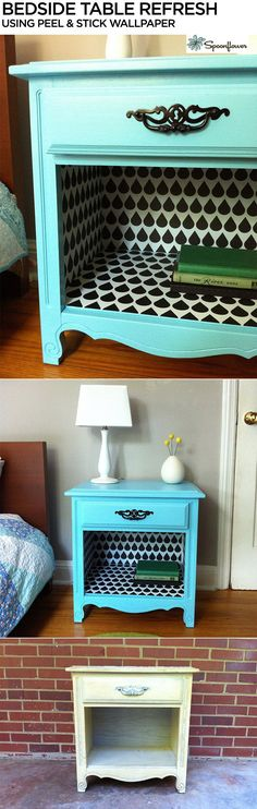 Caitlin Topham of the modern quilting blog /saltyoat/ shares how she gave an old bedside table new life with paint and Spoonflower's new Woven Peel and Stick Wallpaper.