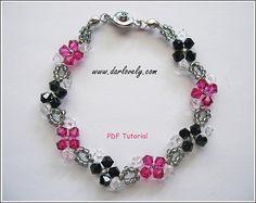 Black Fuchsia Flower Bracelet