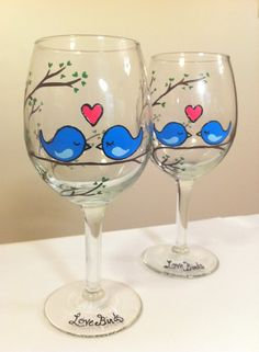 """Love Birds"" Hand-Painted Wine Glasses. $18.00/glass, via Etsy."