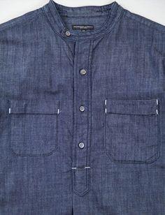 bar tack details, short placket,stand collarwith one side button Denim Top, Denim Shirt, Jeans, Formal Shirts For Men, Casual Shirts, Banded Collar Shirts, Mens Kurta Designs, Retro Mode, Engineered Garments