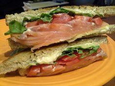 Corner Kitchen SSAT= Smoked Salmon, Arugula, Tomato, Lemon-Caper Aioli on Griddled Rye