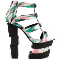 To the windows to the wall!  This Privileged style will have you partying everywhere!  The Wals features a brushed multi patent upper with unique hardware details.  A 6 inch heel creates a stacked cube effect while a 2 3/4 inch platform keeps it sturdy.
