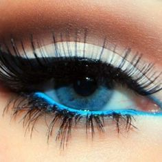 Neon blue eyeliner. Lights, Camera, Makeup ❤ liked on Polyvore featuring beauty products, makeup, eye makeup, eyeliner, eyes and beauty