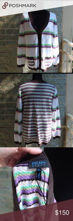 Escada sport striped light sweater Escada sport striped light sweater, brand new, no tags, light and airy, Size XL Escada Sweaters Cardigans
