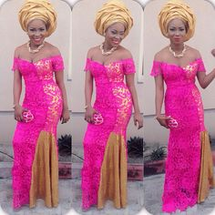Nigerian wedding guest inspiration! Hot pink lace dress and gold gele. aso ebi aso oke ankara African print fashion