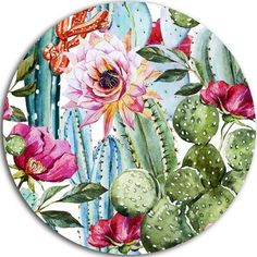 Cactus Pattern Watercolor, Floral Digital Art Round Metal Wall Art - Southwestern - Metal Wall Art - by DesignArt Large Metal Wall Clock, Circle Metal Wall Art, Metal Wall Art Decor, Metal Artwork, Home Wall Art, Watercolor Pattern, Watercolor Print, Watercolor Paintings, Motif Vector