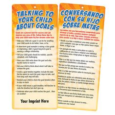 Talking To Your Child About Goals 2-Sided English/Spanish Glancer