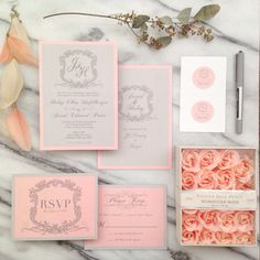 Pink and gray wedding suite by Chelsea Creations Design