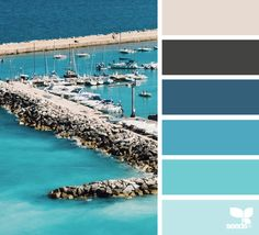 Which color matches blue? - Correctly combine shades of blue in the interior - House decoration Which color matches blue? – Correctly combine shades of blue in the interior – House decoration Colour Pallette, Color Palate, Colour Schemes, Color Combos, Color Palette Challenge, Sea Colour, Design Seeds, Blue Tones, Color Theory
