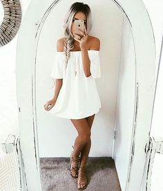 the hottest look for summer 2016 ♡ off the shoulder ♡ Follow us on Instagram @shopdailychic for daily fashion & lifestyle updates and all things chic
