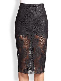 MSGM - Sheer Lace Pencil Skirt - Saks.com