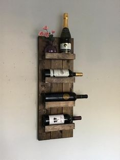 Rustic Wine Rack, Spice Rack, Wall Mounted Wine Bottle Holder & Displa… - Rebel Without Applause Wine Rack Shelf, Hanging Wine Rack, Wine Rack Wall, Small Wine Racks, Rustic Wine Racks, Wine Bottle Display, Wine Bottle Holders, Wine Bottles, Planter Box Centerpiece
