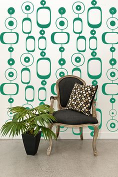 Retro Wall Decor Wall Decal Geometric Mod Chain Circles Modern Mural Shapes Pattern Abstract Ovals