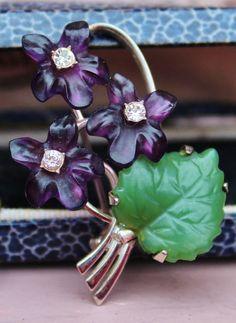Vintage Art Deco Suffragette Hallmarked Silver Amethyst, Jade Flower Brooch*****