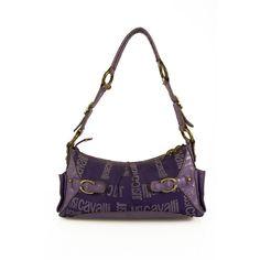 Just Cavalli Purple Monogram Canvas & Leather Brass Tone Hardware Shoulder Bag