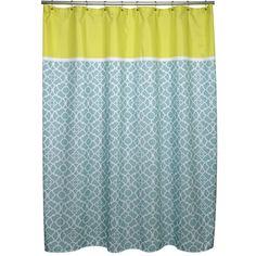 Irongate Lattice Aqua and Citron Shower Curtain