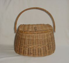 FABULOUS Vintage Woven Wood Wooden Fishing Creel Basket AWESOME Hand Carving #CreelBasket