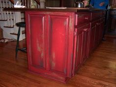 kitchen Kitchen makeover red cabinets Ideas for 2019 Sheds - is this a mans castle? Red Kitchen Cabinets, Distressed Kitchen Cabinets, Red Kitchen Decor, Shabby Chic Kitchen, Painting Kitchen Cabinets, Kitchen Colors, Bathroom Colors, Bathroom Cabinets, Kitchen Ideas