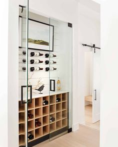 Home And Living, Home And Family, Oak Shelves, Wine Wall, Wine Storage, Beautiful Kitchens, Modern Farmhouse, Decoration, Living Spaces