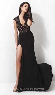 c3a35f212fc1 Fitted Deep V Neck Cap Sleeve High Slit Long Black Chiffon Lace Evening  Prom Dress