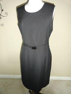 CALVIN KLEIN GRAY PINSTRIPED BELTED DRESS- SZ- 10 MSRP $119 ( #CalvinKlein #Sheath #WeartoWork