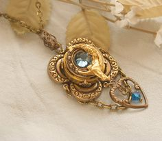 Your place to buy and sell all things handmade Poison Ring, Locket Necklace, Necklaces, Moon Goddess, Style And Grace, Upcycled Vintage, Artemis, Blue Crystals, Gold Pendant