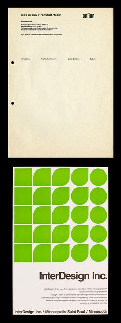Work by Peter Seitz: Braun letterhead (undated) and poster for InterDesign Inc. (1970) designed under the direc­tion of Otl Aicher — while at the Hochschule für Gestaltung Ulm http://www.flickr.com/photos/ryangerald/3824755555/ and http://www.flickr.com/photos/ryangerald/3824335837/in