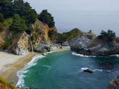McWay Falls on California's Central Coast near Big Sur. This 80-foot waterfall in Julia Pfeiffer Burns State Park