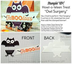 """Owl Surgery"" ... I needed the Howl-o-Ween stamped owl to be taller, so I cut him apart and stretched him!  :) Halloween treat box by Patty Bennett"