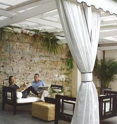 What do you all think about outdoor drapes? I'm trying to get a plan together for out deck and patio and am toying with the idea of using dr. Outdoor Drapes, Pergola Curtains, Pergola Swing, Outdoor Rooms, Outdoor Living, Pergola Ideas, Outdoor Ideas, Pergola Plans, Pergola Kits