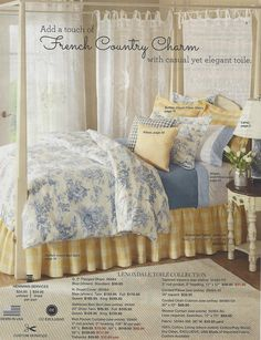 From the Country Curtains catalog, French Country Charm bedroom in blue, yellow and white. GORGEOUS yellow & white buffalo check bedskirt!!! Nice mix of patterns including toile, buffalo check and gingham.