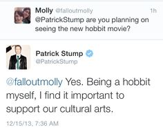 Patrick Stump is a hobbit