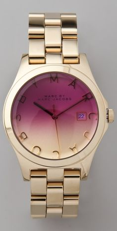 I don't wear watches, but if I had this I sure would! Gold + Ombre. Marc Jacobs.  Love this watch.