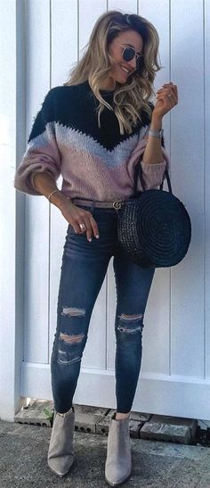 7d3fd04fb7 #fall #outfits grey, pink, and black chevron sweater and distressed blue  denim