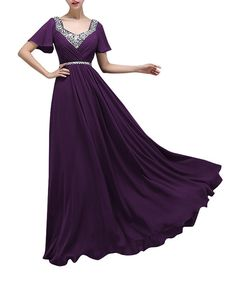 JY FASHION Floor Length Beaded Chiffon Mother of Bride Evening Party Dress at Amazon Women's Clothing store: