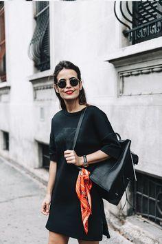 black dress + scarf on bag + sunnies.