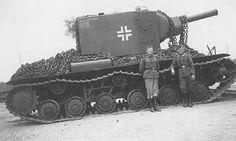 Captured KV-2 with a Balkenkreuz