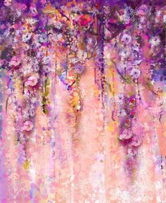 Abstract pink and violet color flowers, Watercolor painting. Hand paint flower Wisteria tree in blossom with bokeh over light purple background.