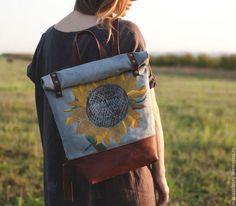 """Рюкзаки ручной работы. Ярмарка Мастеров - ручная работа. Купить Текстильно-кожаный рюкзак """"Подсолнух"""". Handmade. Рюкзак, ручная найбойка"""