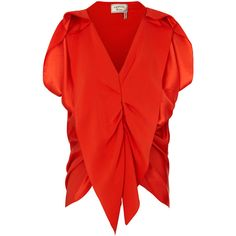 Lanvin Silk Satin Top ($1,625) ❤ liked on Polyvore featuring tops, blouses, shirts, red, red shirt, folding shirts, red top, lanvin shirt and shirts & blouses