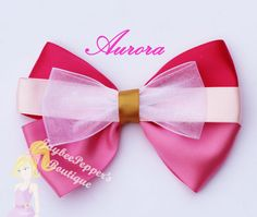 Aurora hair bow Disney hair clip Pink Princess by JaybeePepper