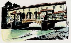 [ #DESSIN ] Ponte Vecchio - Lungarno degli Archibusieri, #Firenze http://www.lescarnets.fr/sketch.php?id=1158 #art #voyage