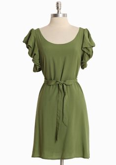 "Westbury Gardenia Ruffle Dress 44.99 at shopruche.com. We adore the sweet bubble sleeves on this spring green dress. Finished in a breezy cotton blend with a waist-defining sash and graceful movement. Fully lined.Self: 60% Cotton, 40% Polyester, Lining: 100% Polyester, Imported, 34"" length from top of shoulders, 34"" bust, All measurements taken from a size small"