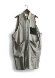 tan block smock   STATE.... sleeves used as front panel - big-pocket